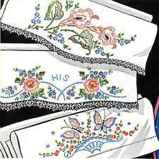 Hand Embroidery Transfer 674 Calla Lilies Roses Butterflies for Pillow Case 50s