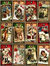 12 CHRISTMAS CHILDREN - VINTAGE LOOK - PAPER CRAFT CARD TAG SCRAPBOOK