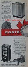 PUBLICITE COSTE POELE A CHARBON ET A MAZOUT CHAT ANIMAL DE 1962 FRENCH AD CAT