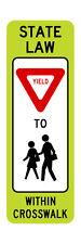 R1-6b In-Street Ped Crossing FYG Sign - 12 x 36 - 10 Year 3M Warranty