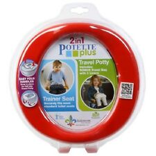 Potette Plus On the Go 2-in-1 Toddler Travel Potty + Training Toilet Seat, Red