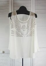 Women's Tops & Blouses Blu Pepper NWOT Studded Tank /  Top Large Ivory (S/ CAD)