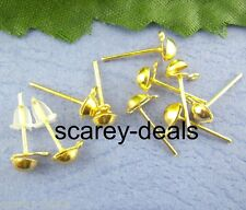 100 4 mm gold plated Half ball earring stud posts w /Loops free backs GP finding