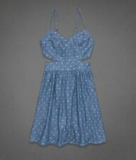 NWT Abercrombie & Fitch WOMENS L Large ALEXIS CHAMBRAY Sundress DRESS NEW blue