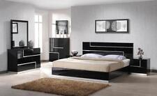 DE ANJIE - QUEEN SIZE MODERN BLACK / CRYSTAL BEDROOM SET 5PC