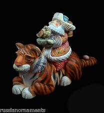 Russian Santa Ded Moroz riding a TIGER Hand Carved & Painted #1005