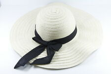 UNIQUE LARGE LADIES BOWLER/DERBY STYLE HAT STRAW WITH BLACK RIBBON(HT10)