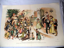 Old Father Christmas & Modern Children 1891 Litho Fairy Tale Witch Santa Mermaid