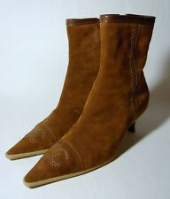 CHANEL Brown / Dark Tan Suede Heeled Ankle Boots Heels / Shoes 37 / 4