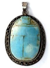 Vintage Egyptian Silver Carved Turquoise Scarab Pendant