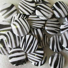20pcs Animal Printed Large Flat Beads 25mm Black & White Crafts & Jewellery