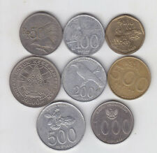 Indonesia -  50, 100, 200, 500, 1000 Rupiah Coin Set  - 8 Different