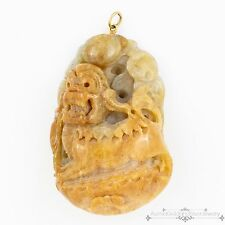 Antique Vintage Deco 18k Gold Chinese Carved Yellow Jade Jadeite Foo Dog Pendant