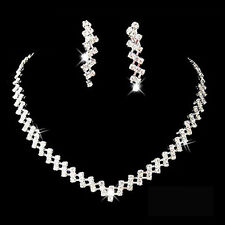 Trendy Bridal Wedding Pageant Jewelry Crystal Rhinestone Necklace Earring Set