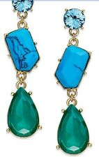 NWT Kate Spade Crystal Fiesta Linear Earrings Turquoise Multi O0RU1051 MSRP $78