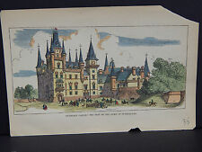 Old Prints 19th Century Hand Color Dunrobin Castle Duke of Sutherland's Seat #03
