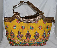 Bueno Yellow w/ Brown Streaks & Sequined Orange Flowers & Gold Trim Shoulder Bag