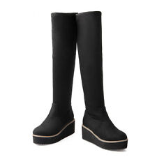 Hot Womens Snow Knee High Boots Platform Wedge Heel Winter Pull On Shoes Plus SZ