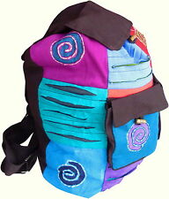 FAIR TRADE COTTON HIPPY BOHO TRAVEL DRAWSTRING SPIRAL BACKPACK SHOULDER BAG