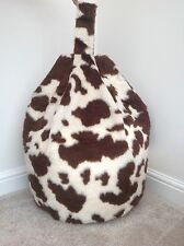 COVER ONLY BEAN BAG FAUX FUR 3 CUBIC FT SIZE NEW LUXURIOUS CHILDREN BROWN COW