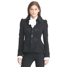 Lauren Ralph Lauren wool Military soutache-trim peplum jacket blazer Black 14