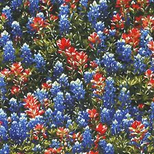 Fabric Flowers Texas Wild Bluebonnets on Cotton by the 1/4 yard