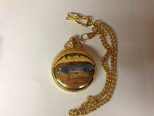 Austin Healey Sprite MK2 ref17 pewter effect emblem gold quartz pocket watch