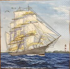 2 single paper Napkins for Decoupage or Collection Sea Sailing Ship