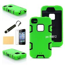 Hybrid Shockproof Durable Defender armor Case Cover For Iphone 4 4G 4s Green