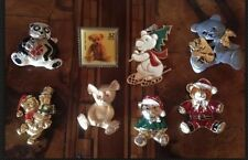 Rare! Vintage Lot Christmas Teddy Bear Pins Lotto Spille Orso Natale (lot 21)