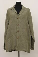 TEMPERATE FLAX LINEN MAN TAILORED BUTTONED JACKET MOSSY TWEED MEDIUM 10 - 14