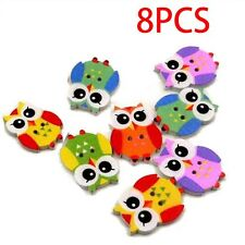 Mixed Color Wood Sewing Button Scrapbooking Cute Owl Shaped Crafts 2Holes 8Pcs