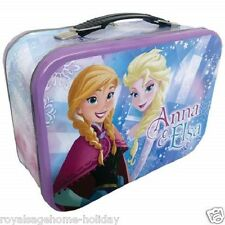 26406 Elsa Anna Large Tin Tote Lunch Box Container School Disney Frozen Sisters