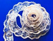 GOLD on WHITE~3 Inch Wide Ruffled Floral Lace Trim~By 5 Yards