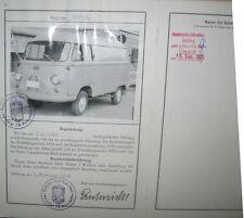 * Hanomag Matador 1 TO Kastenwagen 1966 Österreichischer Typenschein SAMMLER *