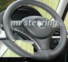 FITS BMW X5 E53 1999-2006 REAL BLACK LEATHER STEERING WHEEL COVER M-TECH STITCH
