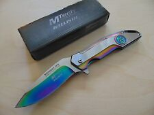 """MTech Tactical 8.5"""" Rainbow Titanium Coated Blade Spring Assisted Folding Knife"""