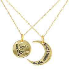 Gold Tone His and Hers Pendant Couple Necklace I Love You 19""