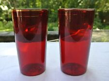 Beautiful, Vintage, Set of 2, Ruby Red Flat Glass Tumblers with Gold Rim B