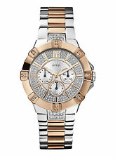 NEW Guess W0024L1 Women's Dazzling Silver Rose-Gold-Tone Multifunction Watch