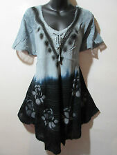 Top Fit 1X 2X 3X 4X Plus Long Tunic Black Gray Stamp Art Roses A Shaped NWT G786