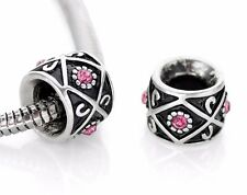 European Spacer Beads Charms With Rhinestones Fit European Charm Bracelets