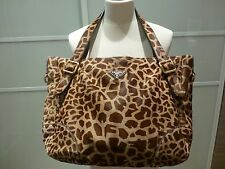 PRADA Calf Skin Leather Animal Giraffa Print Handbag Tote Shopper Prada Bag