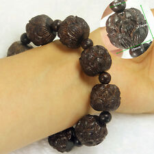 Tibetan Buddhist Natural Brown Wood Beads Bracelet Snow Lotus flower Bangle #