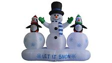 6 FT Christmas Inflatable Snowman Penguins Ice Garden Balloon Decoration Lighted