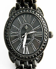 NEW JUDITH RIPKA LUXURIOUS STAINLESS STEEL & BLACK SPINEL WATCH + 3 STRAPS. NIB