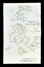 c. 19th Century Hand Drawn Map Kingdom of Ulysses Odysseus Ithaca Ancient Greece