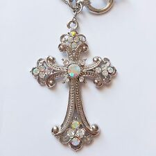 Women Fashion Jewelry Silver Chain Necklace Rhinestone Cross Pendant W Gift Box