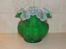 FENTON ART GLASS GREEN & OPAL CASED MELON SHAPED VASE RUFFLED