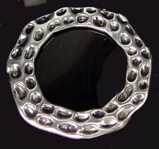 Silver Pewter Hammered Oval Large Ring 45mm